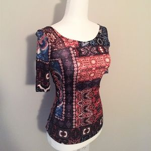 Colorful Patterned Quarter-Sleeve Top
